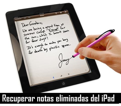 Recuperar notas eliminadas del iPad
